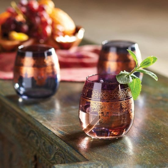 Moroccan Stemless Drinking Glasses Set