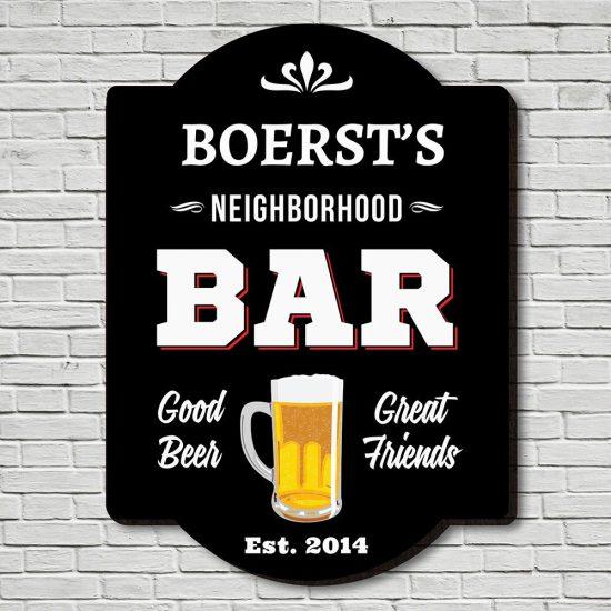 Custom Neighborhood Bar Sign Birthday Gift for Dad