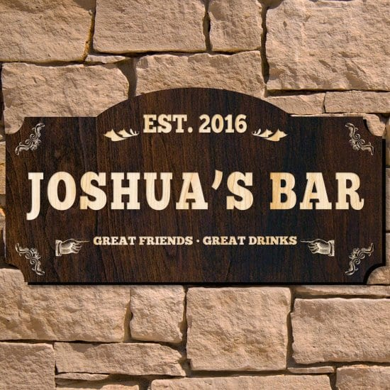 Engraved Rustic Bar Sign