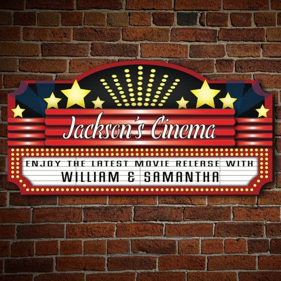 Custom Movie Theater Wood Sign Gifts for Boyfriend Christmas