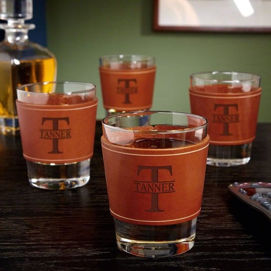 Personalized Leather Wrapped Whiskey Glass Set