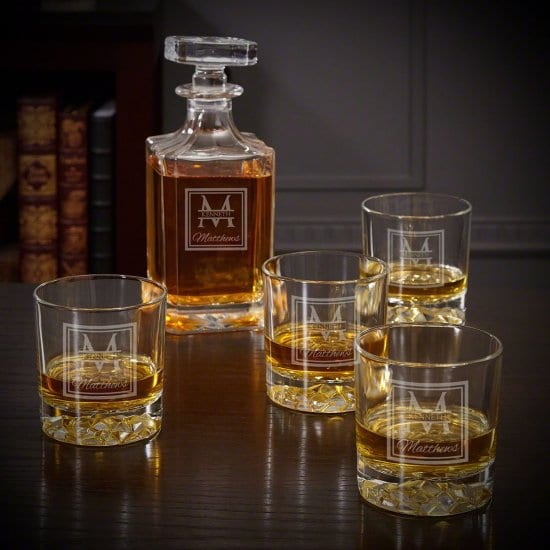Engraved Whiskey Decanter with Glasses
