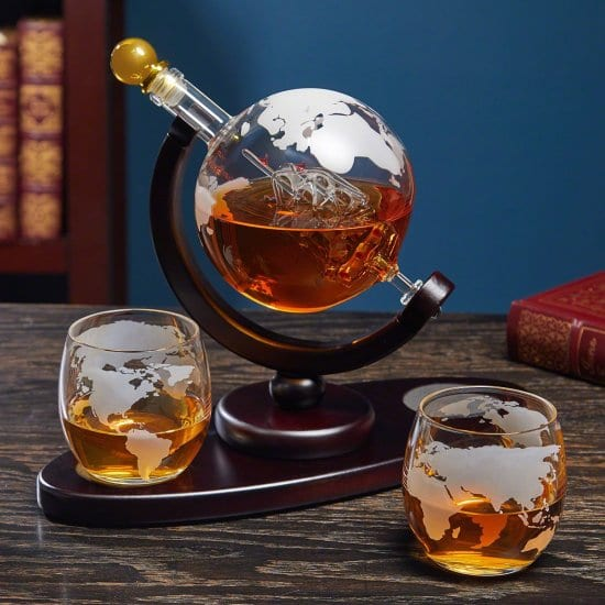Etched Globe Decanter Set of Long Distance Relationship Gifts