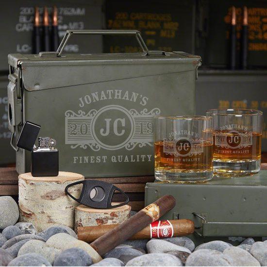 Personalized Ammo Box Whiskey Gift Set