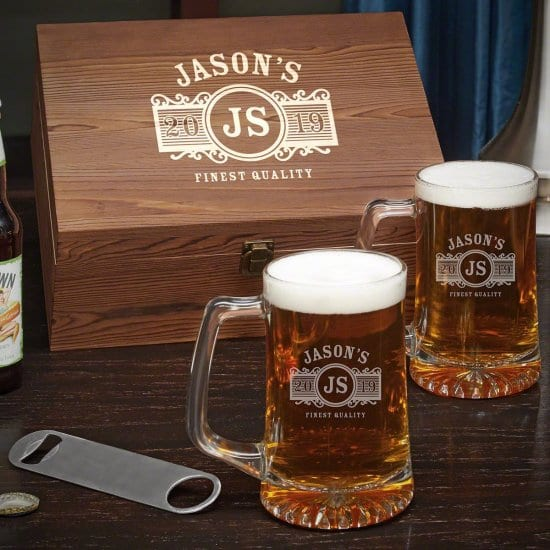 Personalized Beer Mug Box Set with Bottle Opener