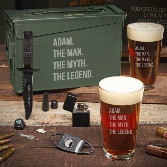 Manly Engraved Pint Glass Ammo Box Set with Cigar Accessories