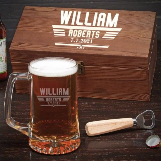 Engraved Beer Mug Gift Set