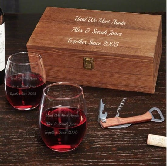 Personalized Wine Glass Box Set of Long Distance Relationship Gifts