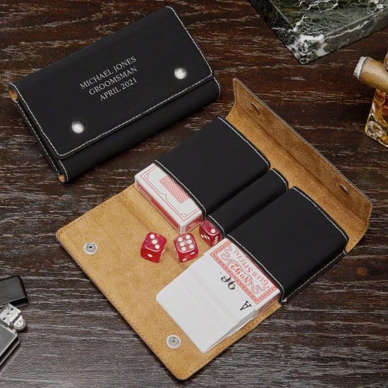 Personalized Card and Dice Set with Leather Case