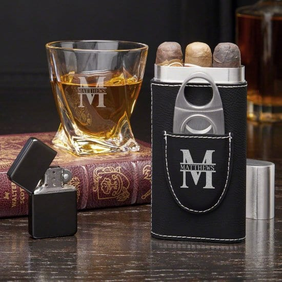 Personalized Twist Glass and Cigar Set