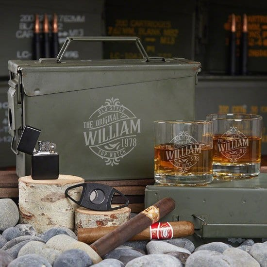 Engraved Ammo Can with Whiskey Glasses