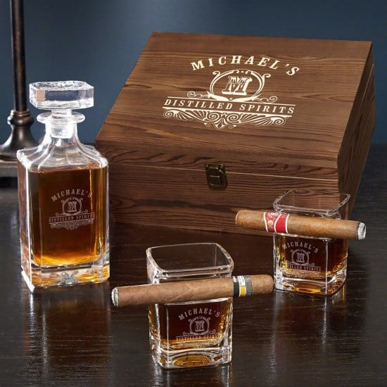Engraved Cigar Whiskey Glass and Decanter Box Set