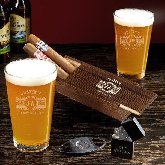 Engraved Pint Glass and Cigar Box Set