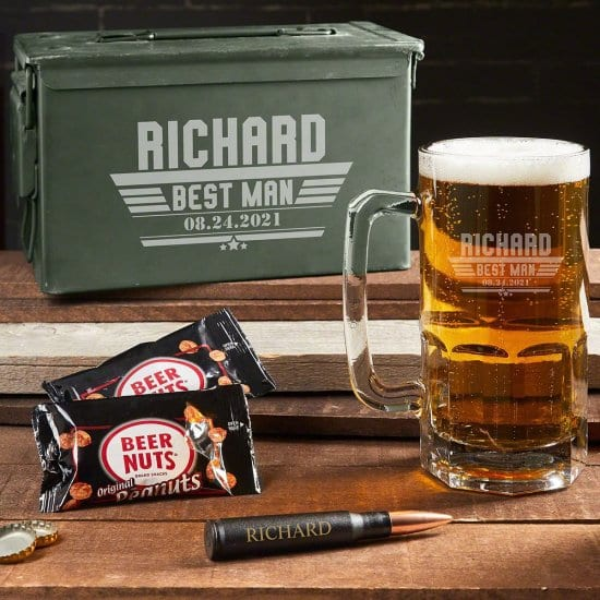Engraved Beer Mug Ammo Can are Good Birthday Gifts for Guys