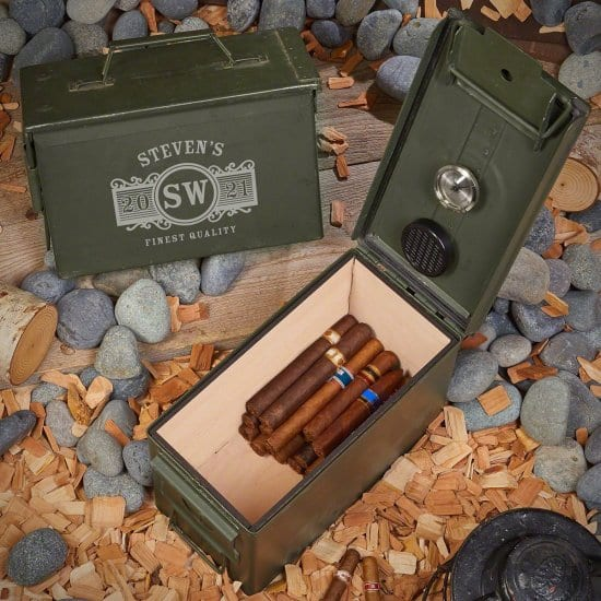 Engraved Ammo Can Humidor Anniversary Ideas for Husband