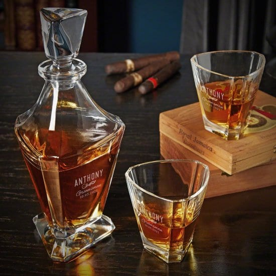 Personalized Triangular Decanter Set