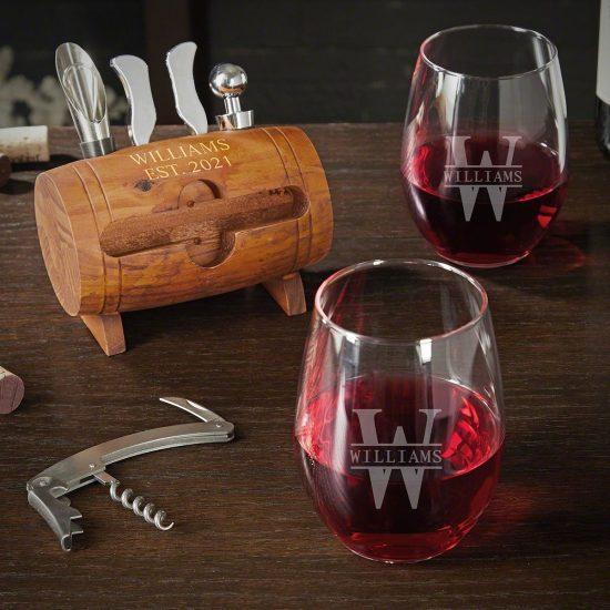 Custom Wine Glasses and Wine Barrel Tool Set