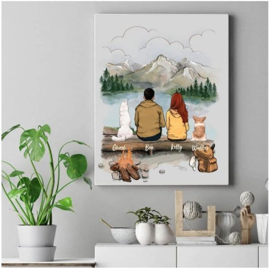 Custom Portrait of Couple with Dogs by Unifury