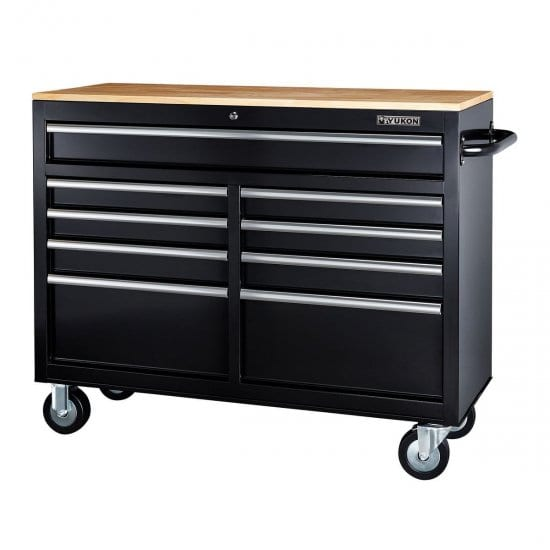 46 inch Mobile Storage Cabinet with Wood Top