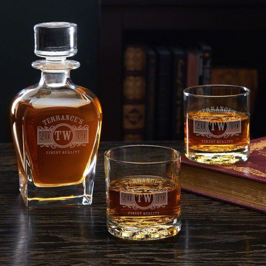 Engraved Whiskey Decanter Set