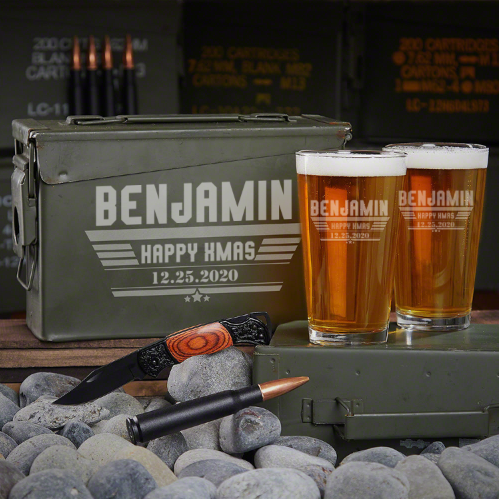 Engraved Beer Ammo Box Set of Men's Christmas Gifts