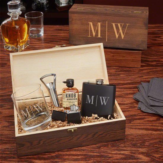 Personalized Flask and Glass Box Set
