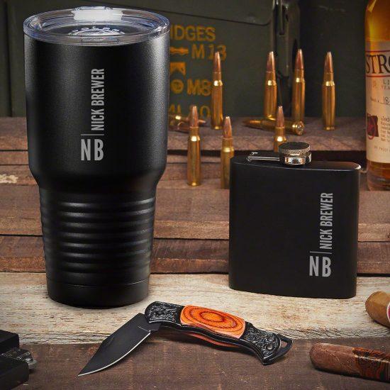 Custom Tumbler and Flask Set with Pocket Knife