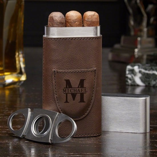 Embossed Cigar Case Gift for Outdoorsy Guy