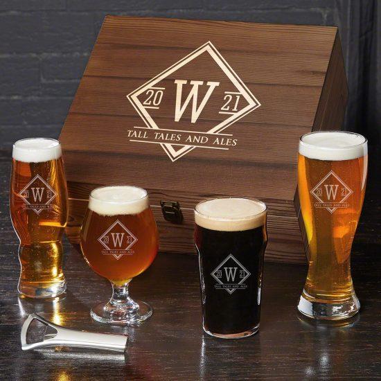 Personalized Beer Tasting Glasses Box Set