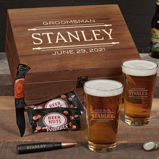 Custom Beer Box Set with Pint Glasses and Folding Knife