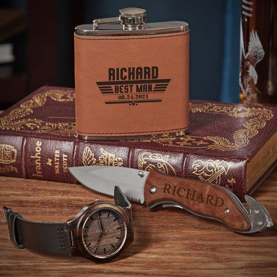 Personalized Flask Knife and Wooden Watch