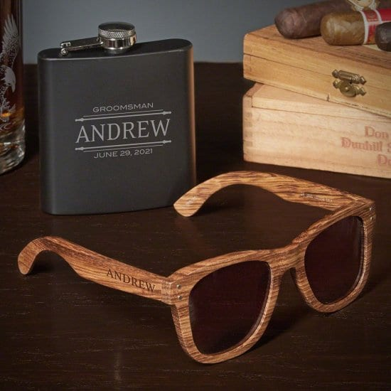 Blackout Flask and Bamboo Glasses Set