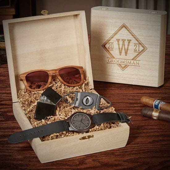Engraved Cigar Box with Sunglasses Watch Cigar Accessories