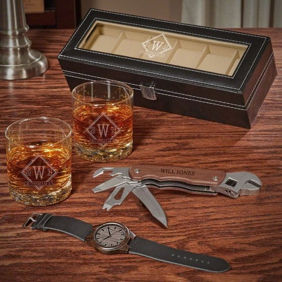 Personalized Whiskey Glass Watch Set with Multi Tool
