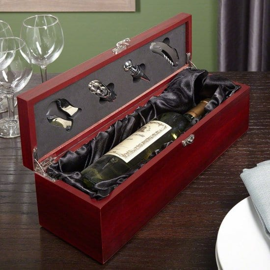 Engraved Wine Bottle Box with Tools Gift Ideas for Clients