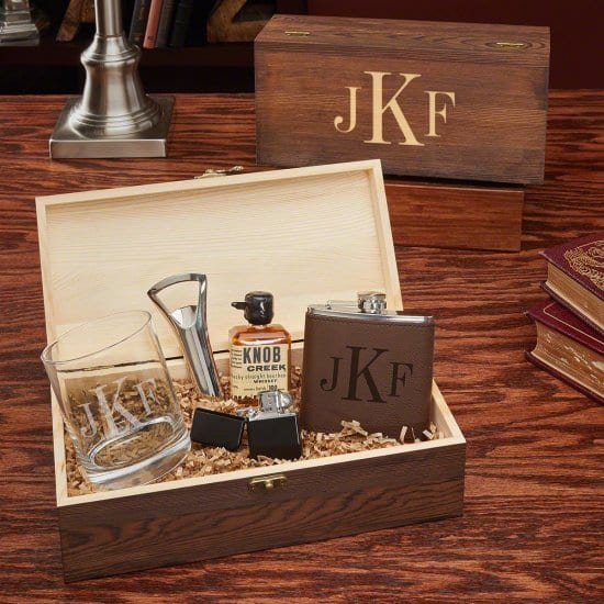 Monogrammed Flask and Cocktail Whiskey Box for Sons