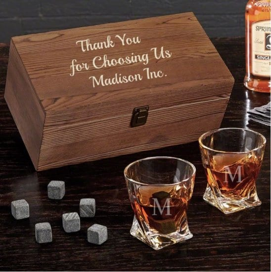 Personalized Whiskey Box Set of Client Gifts