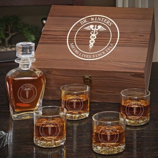 Personalized Decanter Box Set of Gifts for Doctors