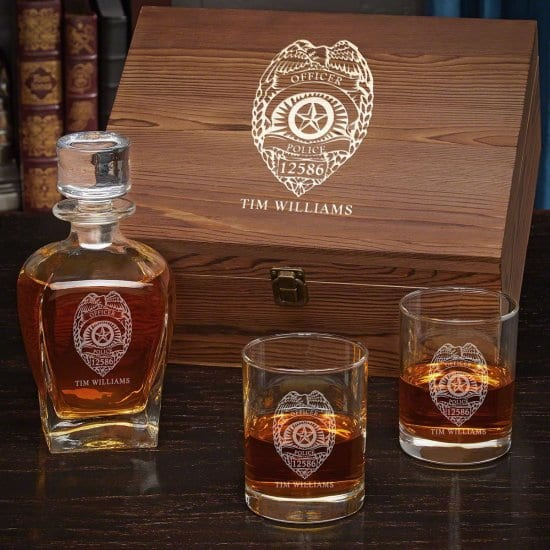 Customized Whiskey Decanter and Glasses Box Set of Thin Blue Line Gifts