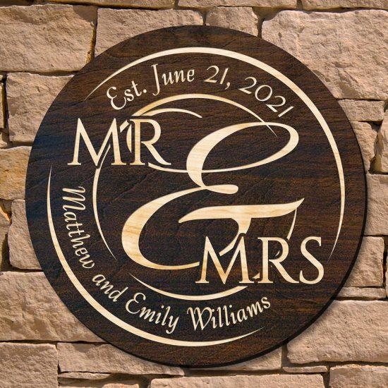 Custom Wood Mr. and Mrs. Sign