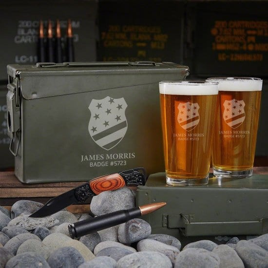 Personalized Ammo Can Beer Set of Thin Blue Line Products