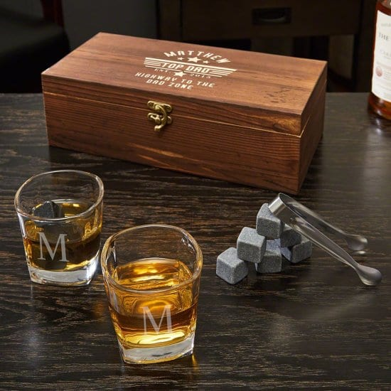Personalized Whiskey Stones and Shot Glass Set