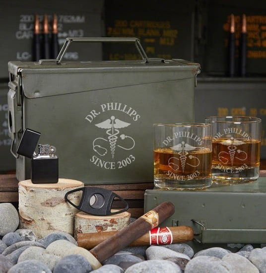 Engraved Whiskey Ammo Can Set