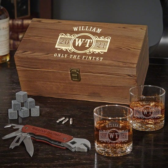 Engraved Whiskey Box Set with Multi Tool