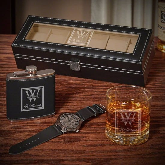 Engraved Watch Case Flask Wooden Watch and Rocks Glass
