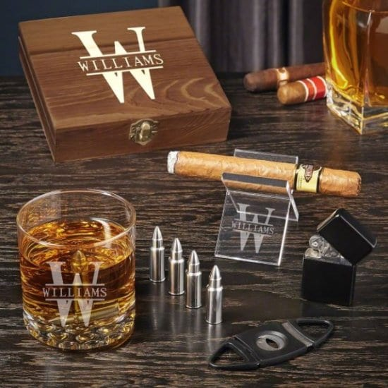 Whiskey and Cigar Gift Set of Unique Gifts for Guy