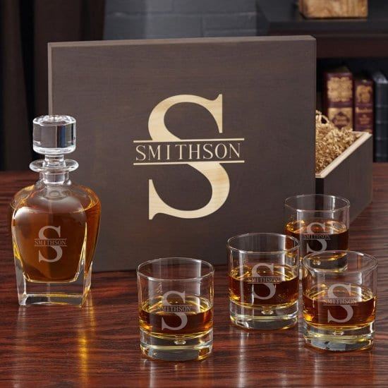 Decanter and Glasses Personalized Gift Baskets