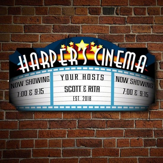 Personalized Wood Movie Theater Sign