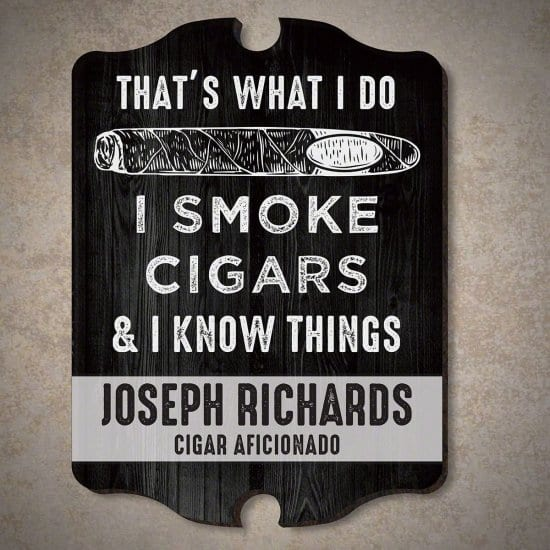 Personalized Wood Cigar Lounge Sign