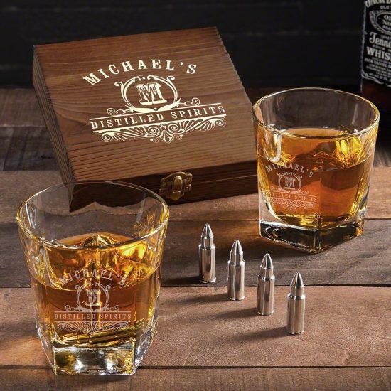 Custom Bourbon Bullet Whiskey Stone Set